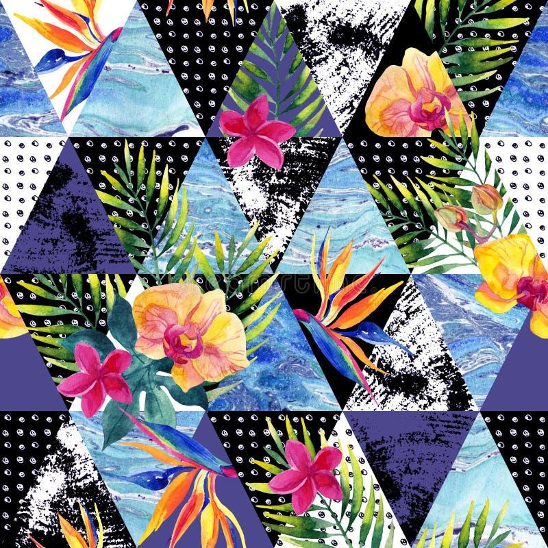 Grunge abstrato e triângulos de mármore com flores tropicais, folhas ilustração do vetor