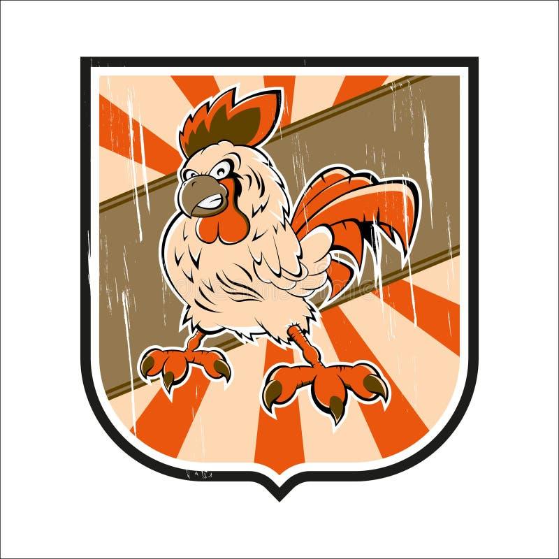 Grunge Abzeichen mit Huhn vektor abbildung