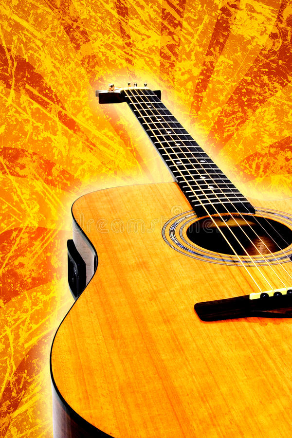 Grunge acoustic guitar stock image