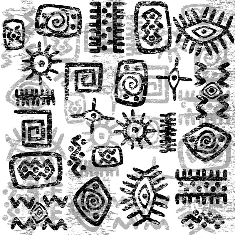 Grunge African symbols background vector illustration