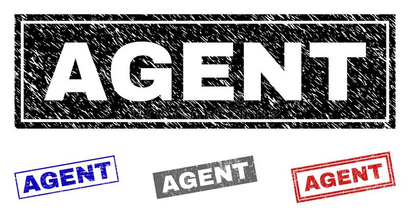 Grunge AGENT Scratched Rectangle Watermarks. Grunge AGENT rectangle stamp seals isolated on a white background. Rectangular seals with grunge texture in red royalty free illustration