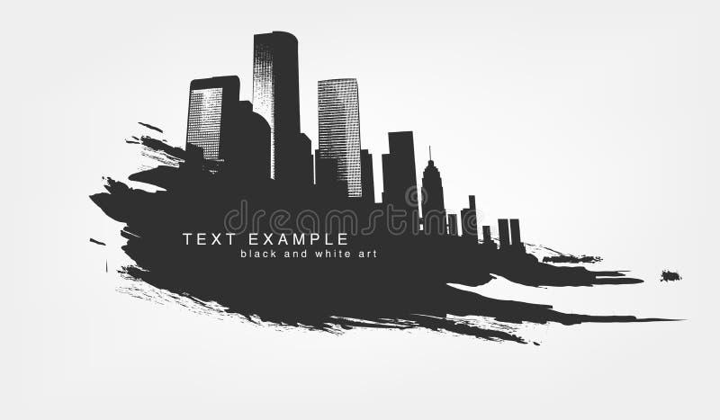 Grunge aislado extracto de la textura de la línea y de la pincelada con la ciudad grande libre illustration