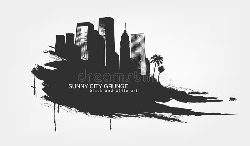 Grunge aislado extracto de la textura de la línea y de la pincelada con la ciudad grande ilustración del vector