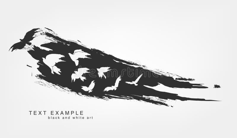 Grunge aislado extracto de la textura de la línea y de la pincelada con volar de los pájaros ilustración del vector