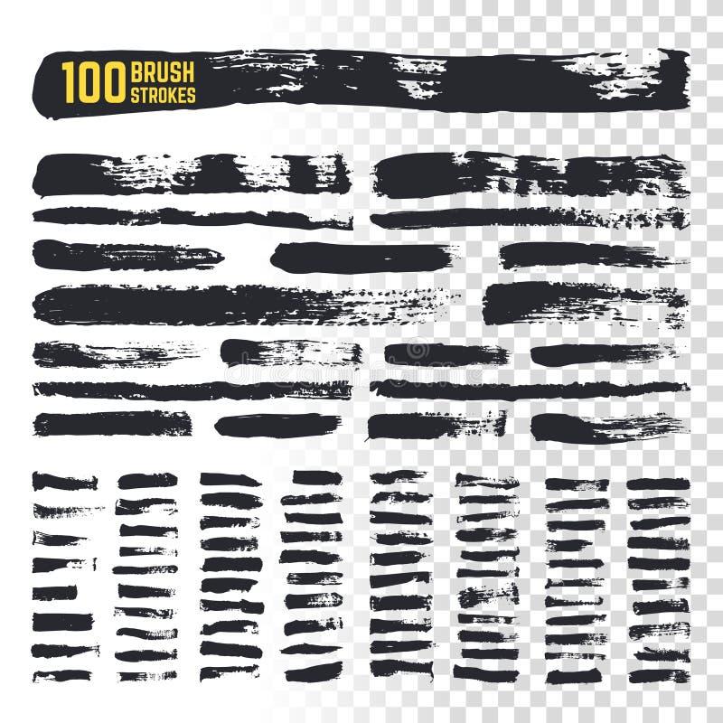 Grunge akwareli szczotkarscy czarni uderzenia z textured krawędziami 100 szorstkiego atramentu freehand sztuka szczotkuje wektoro royalty ilustracja