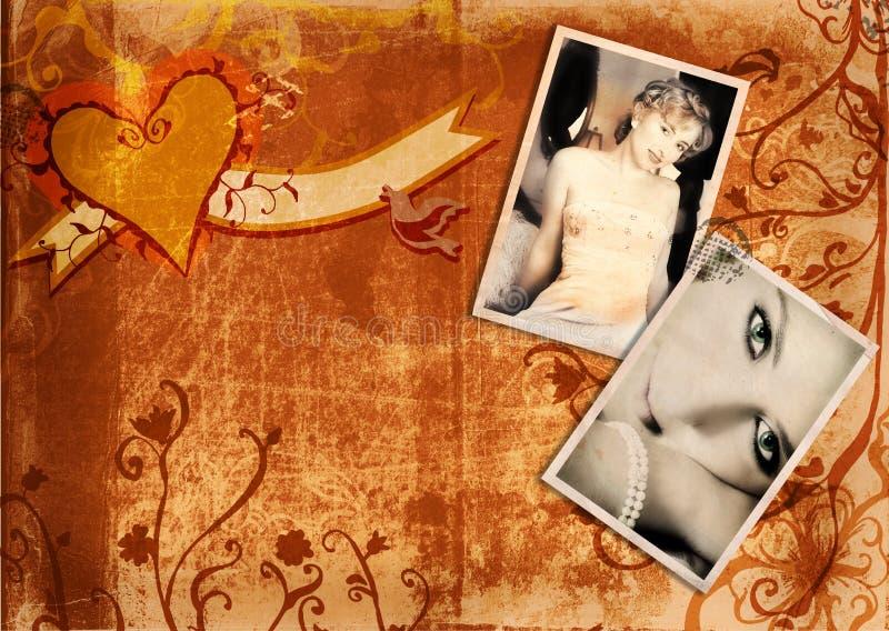 Grunge album page with bride