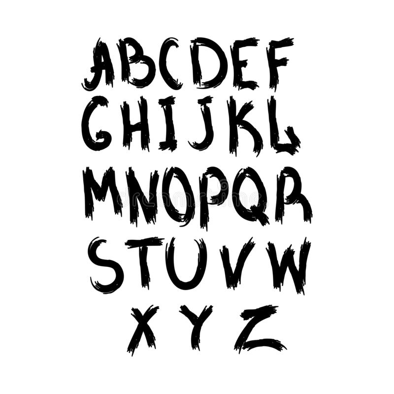 Grunge alfabet Ställ in av latinska bokstäver skriftligt med en grov borste Skissa vattenfärgen, målarfärg, grafitti, vattenfärg royaltyfri illustrationer