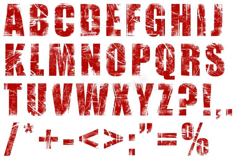 Grunge alphabet. On white background stock illustration