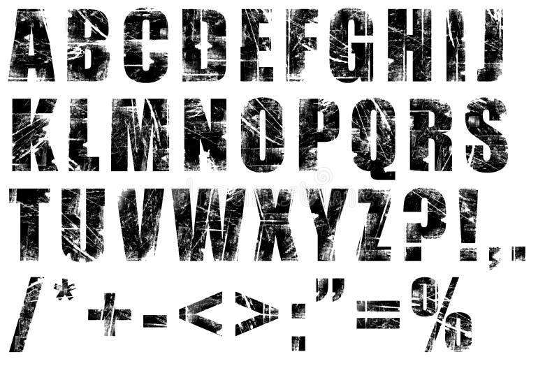 Grunge alphabet. Black on white background royalty free illustration