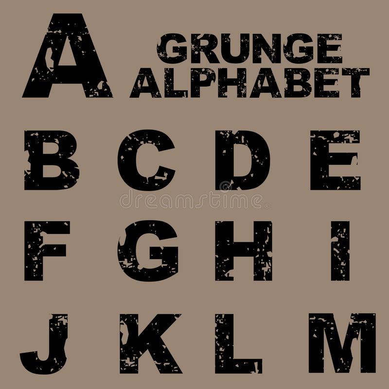 Grunge Alphabet eingestellt [A-M] vektor abbildung