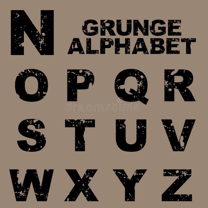 Grunge Alphabet eingestellt [N-Z] vektor abbildung