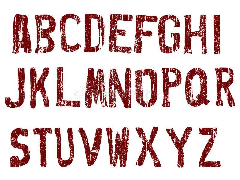 Grunge Alphabet A-Z vektor abbildung