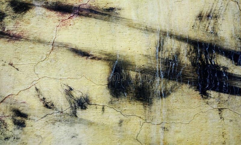 Grunge amarillo, textura blanco y negro de la pared del movimiento del cepillo del fondo concreto del piso para el extracto de la imagen de archivo