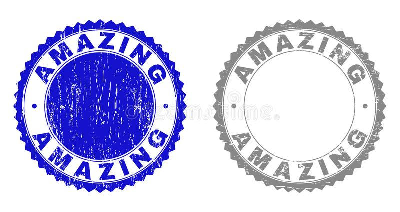Textured AMAZING Scratched Stamp Seals royalty free illustration