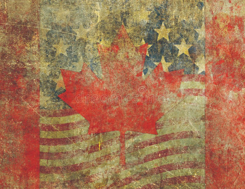 Grunge American and Canadian Flag Design Severely Faded stock illustration