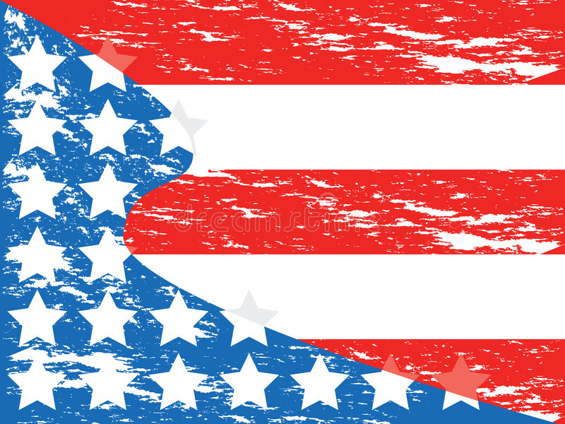 Grunge American flag. Stylized American flag gone grunge style, with stars passing from the blue wavy section to red and white stripes vector illustration