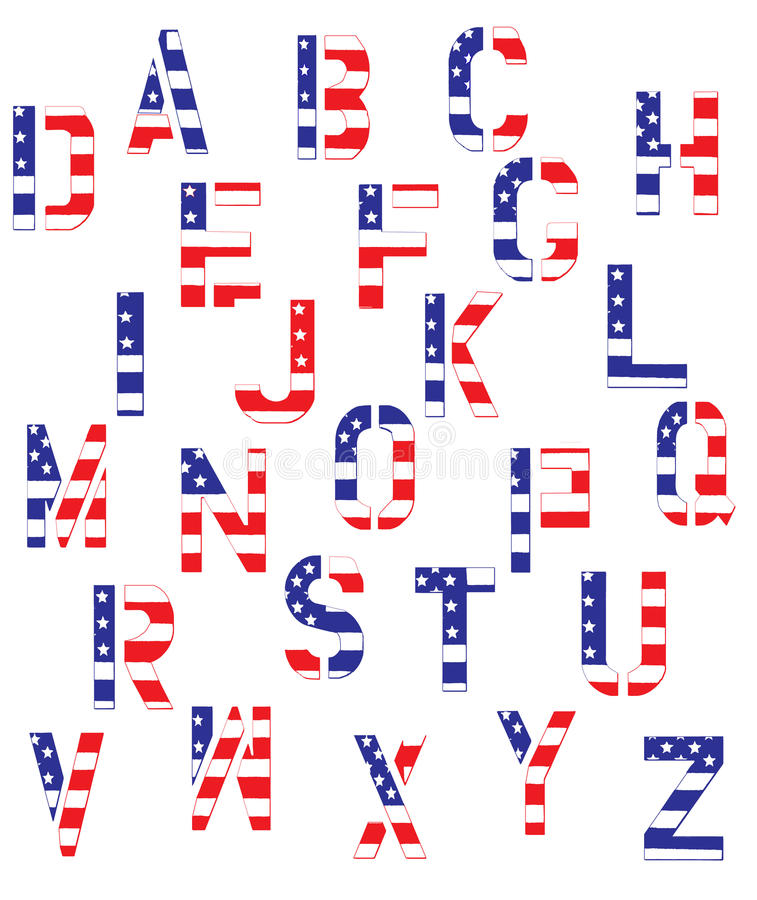 Grunge American Flag Alphabet Vector. Alphabet in capital block letters with American Flag motif in grunge treatment stock illustration