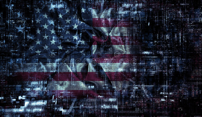 Grunge American flag background with programming code. American flag background with folds and creases and a coding design stock illustration