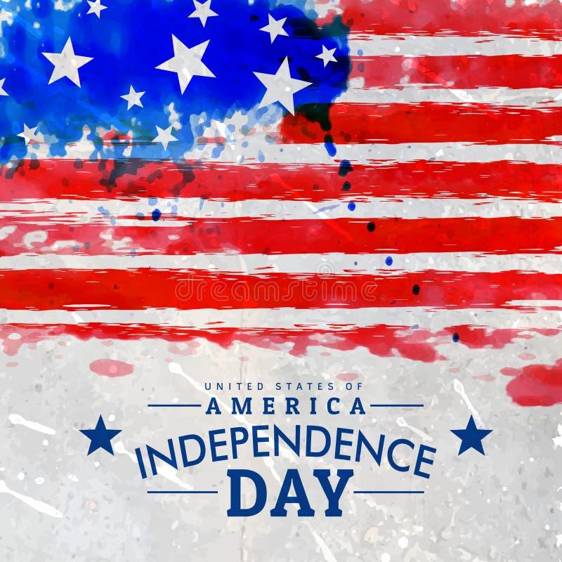 Grunge american flag background. Vector royalty free illustration