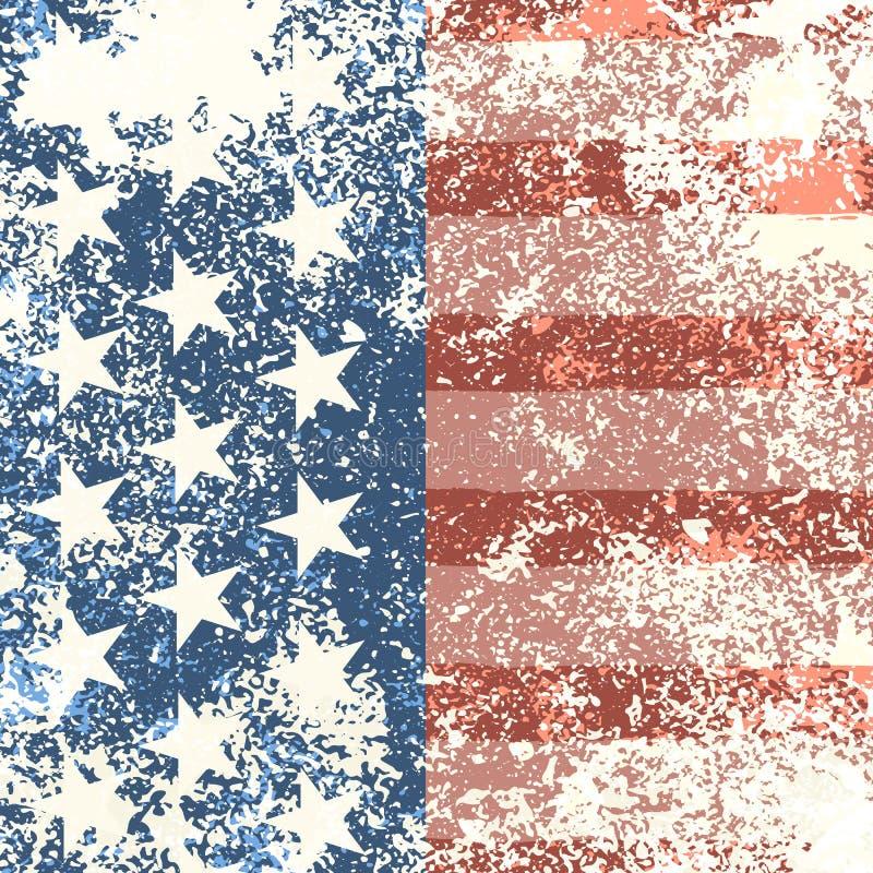Grunge American flag background. Vector illustration. EPS 10 stock illustration
