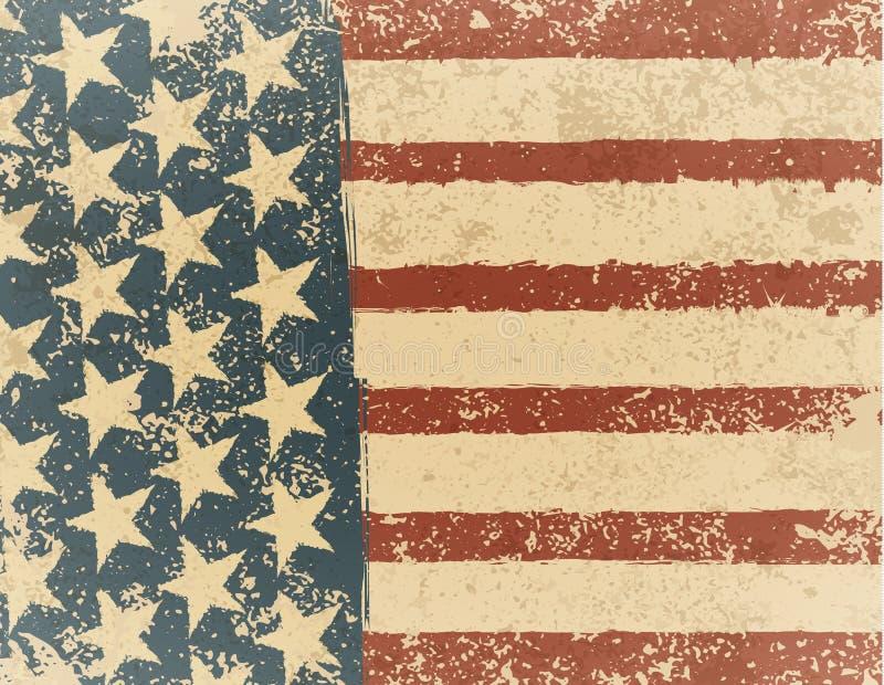 Grunge American flag background. Vector illustration, EPS 10.  royalty free illustration