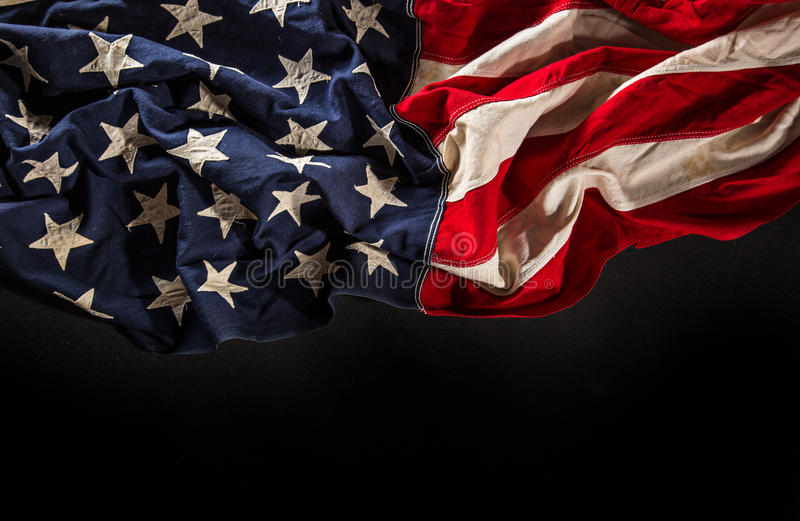 Grunge American flag. Close-up royalty free stock photo