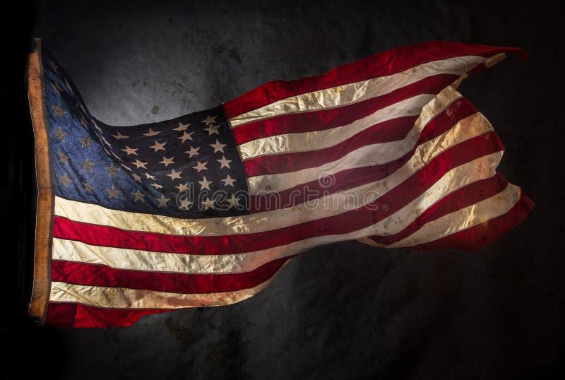 Grunge American flag. Close-up stock image