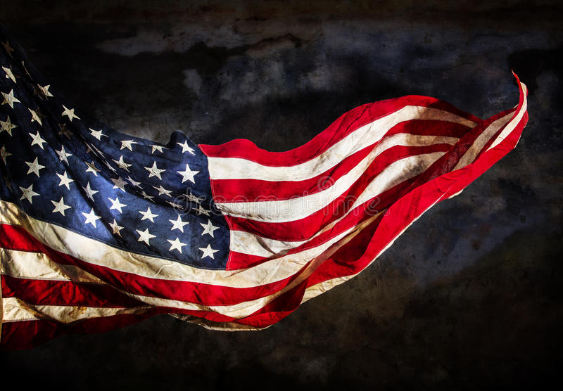Grunge American flag. Close-up stock images