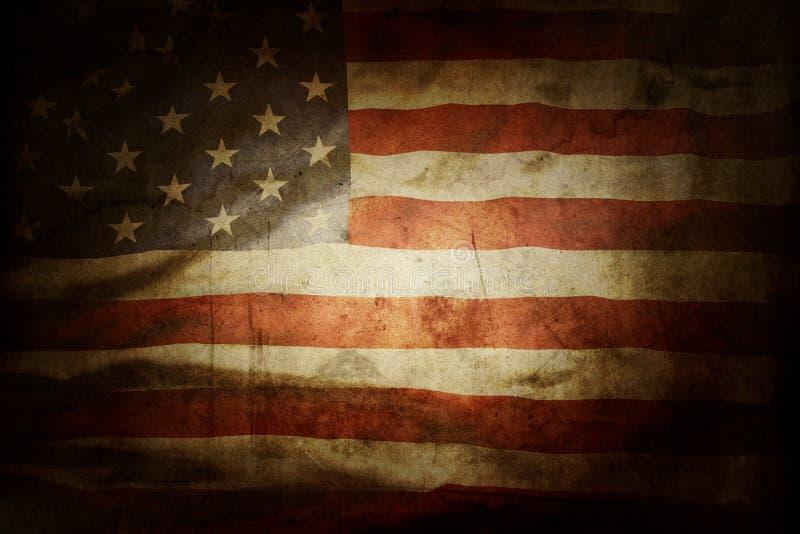 Grunge American flag. Closeup of grunge American flag royalty free illustration