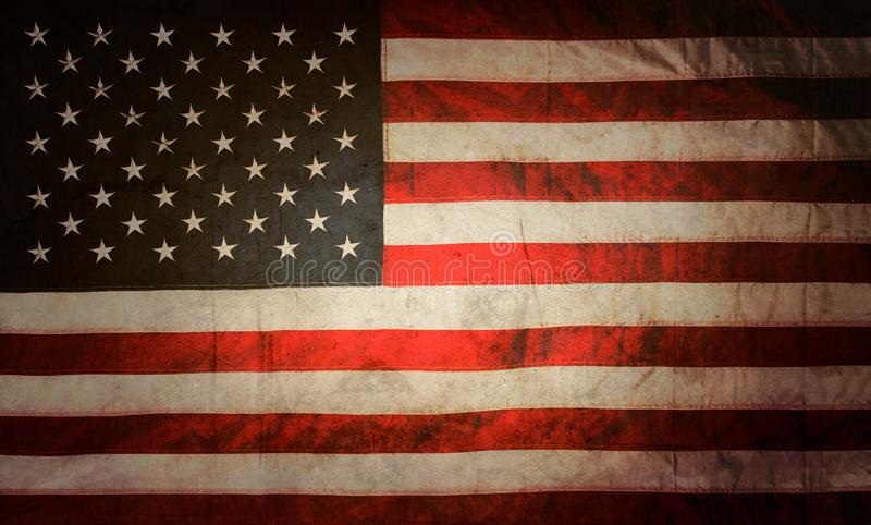 Grunge American flag. Closeup of grunge American flag vector illustration