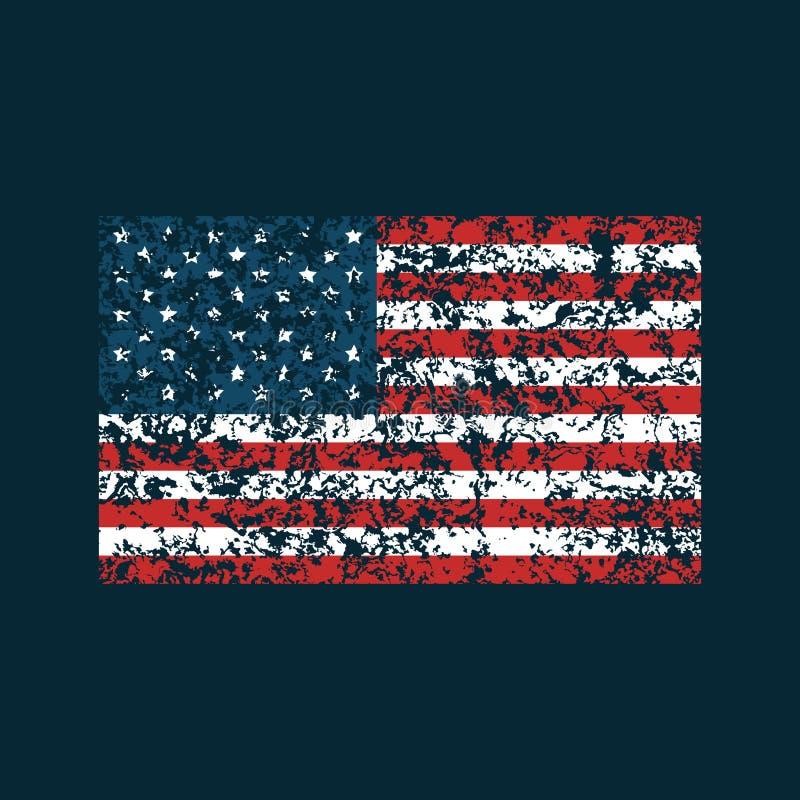 Grunge American flag on dark blue background. Vector royalty free illustration
