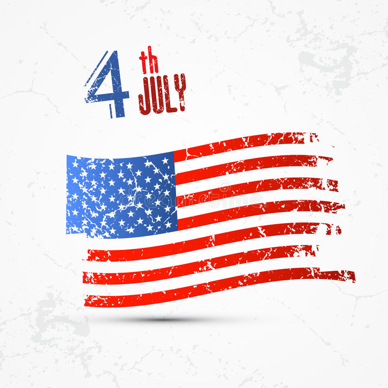 Grunge American flag. Fourth of July, Independence Day, American flag, vector royalty free illustration