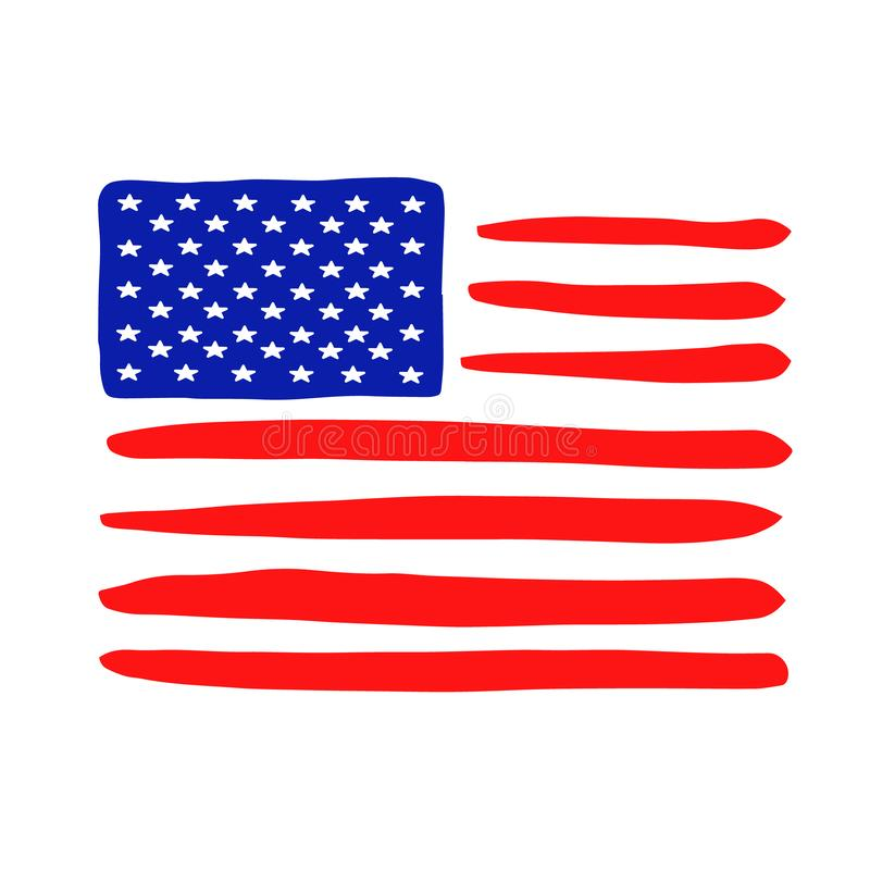 Grunge American Flag icon. Hand drawn national flag USA logo with 50 stars on white background banner. United States of America. Symbol abstract Vector stock illustration