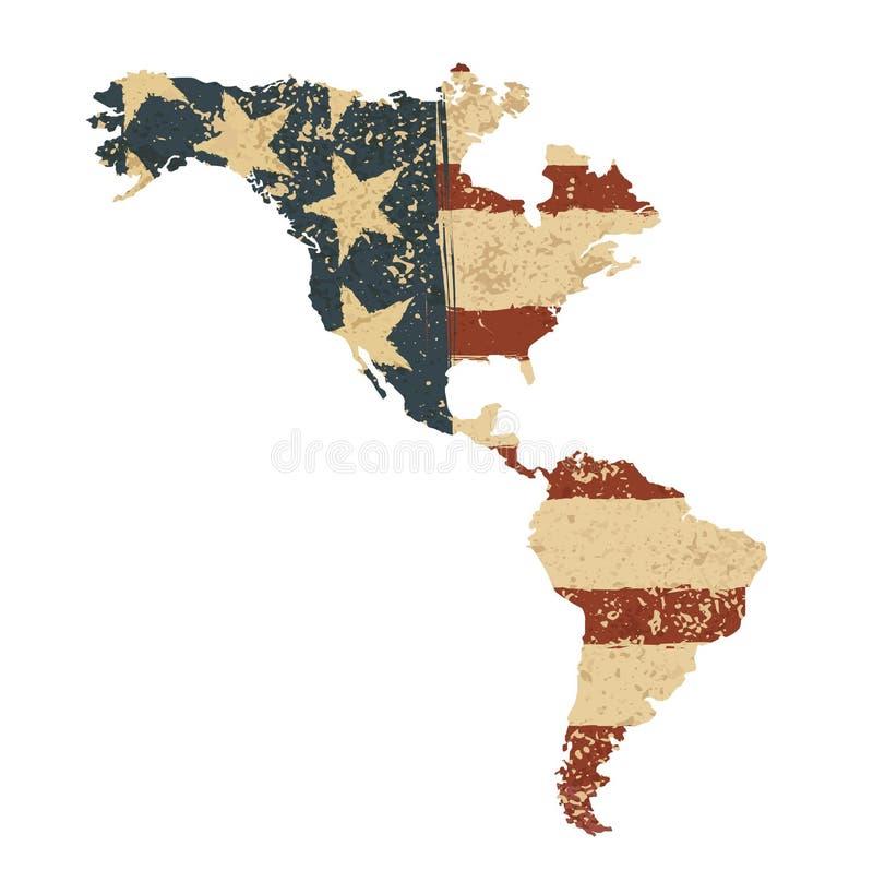 Grunge American flag map. Vector illustration, EPS 10 royalty free illustration