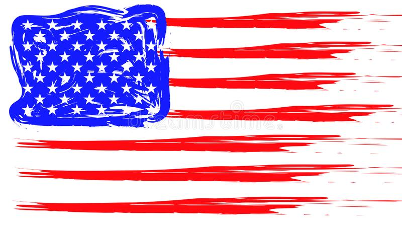 Grunge American flag. Patriotic background. Vector flag of USA stock illustration