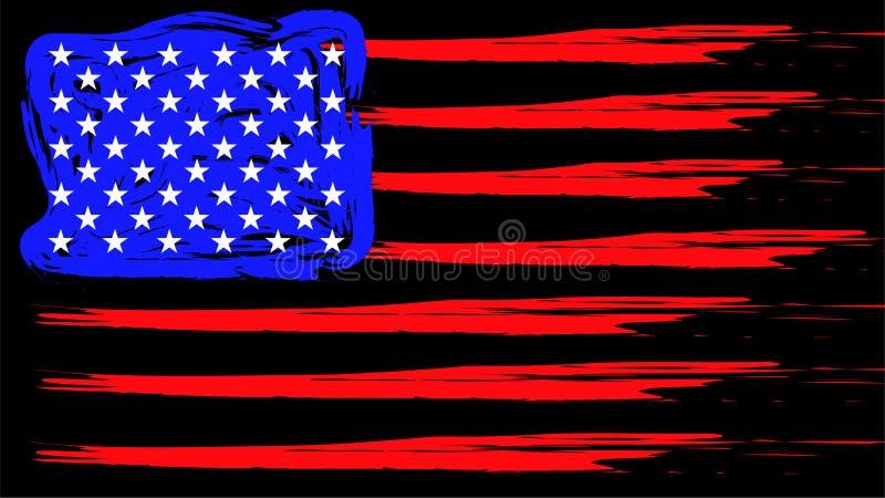 Grunge American flag. Patriotic background. Vector flag of USA royalty free illustration