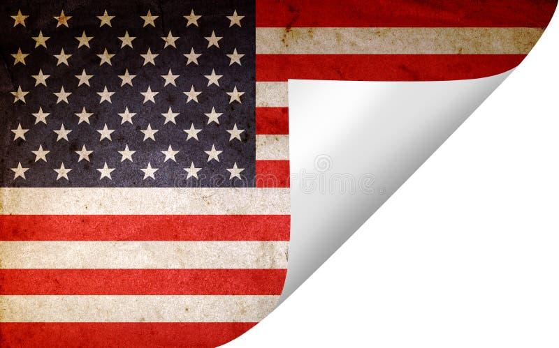 Grunge American flag. Turning page stock illustration