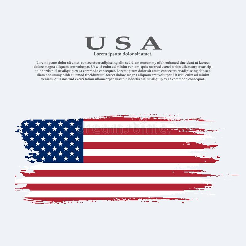 Grunge American flag.Vector flag of USA. royalty free illustration