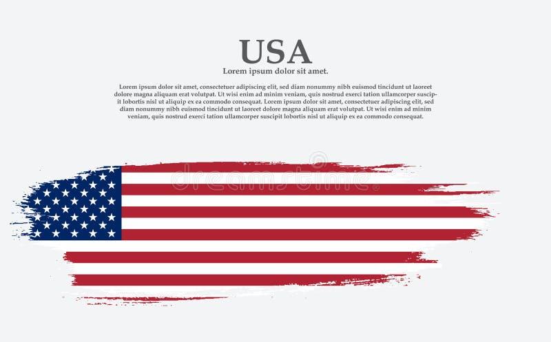 Grunge American flag. Vector flag of USA. United States banner vintage textured background vector illustration