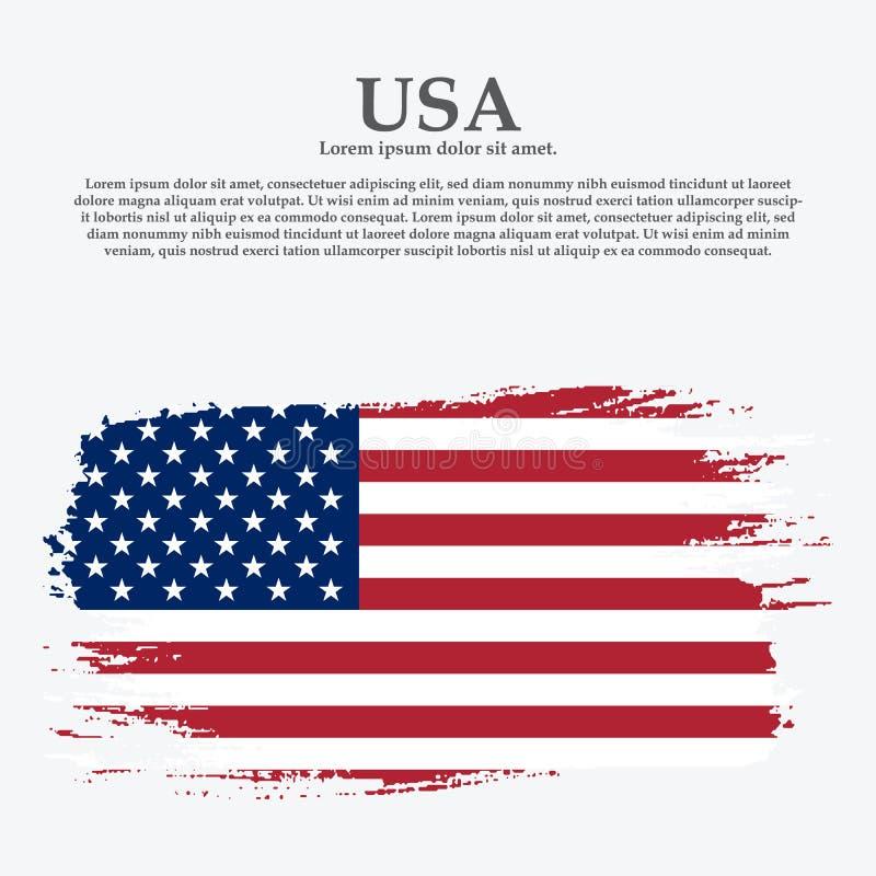 Grunge American flag.Vector flag of USA. United States banner vintage textured background royalty free illustration