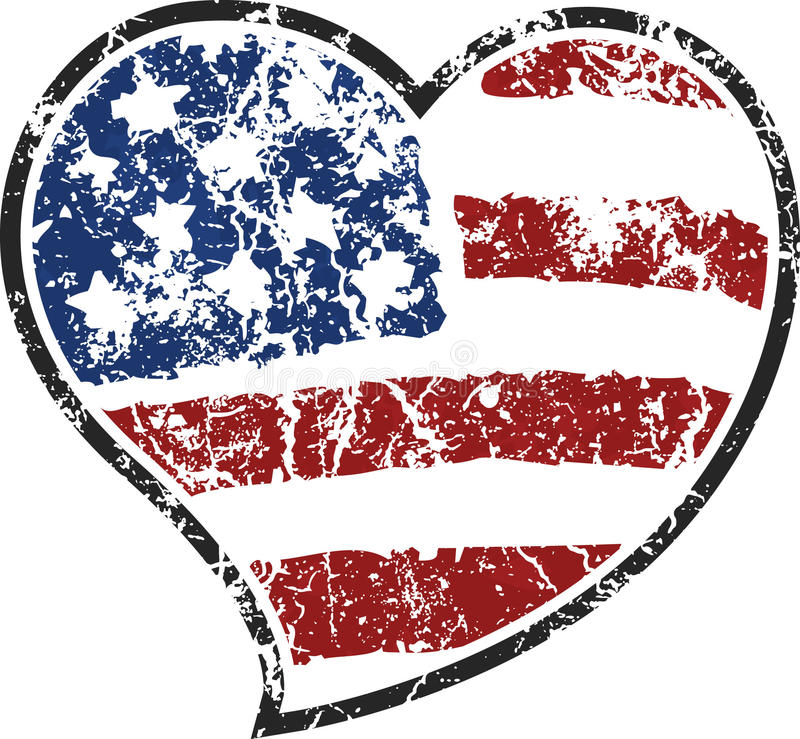 Grunge american heart. Heart shape with grunge american flag royalty free illustration