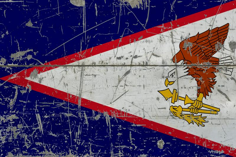 Grunge American Samoa flag on old scratched wooden surface. National vintage background royalty free stock photography