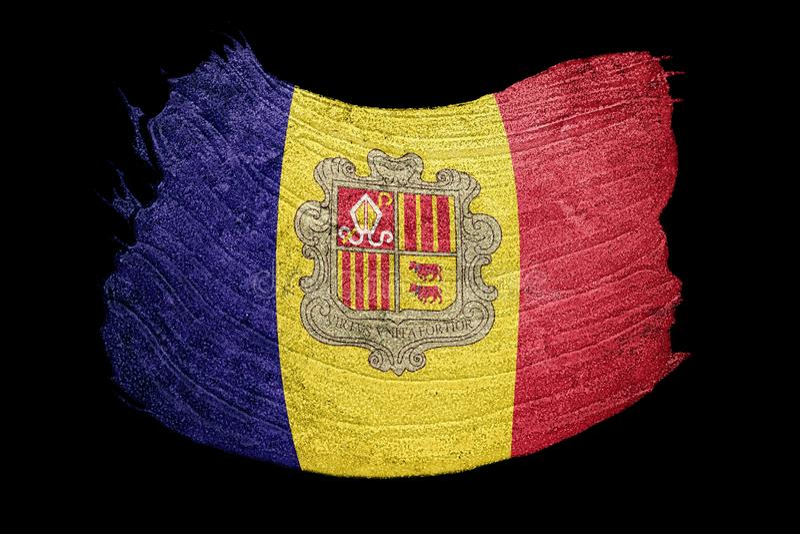 Grunge Andorra flag. Andorra flag with grunge texture. Brush str. Oke. Brush stroke vector illustration