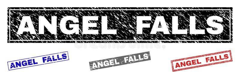 Grunge ANGEL FALLS skrapade rektangelstämpelskyddsremsor stock illustrationer