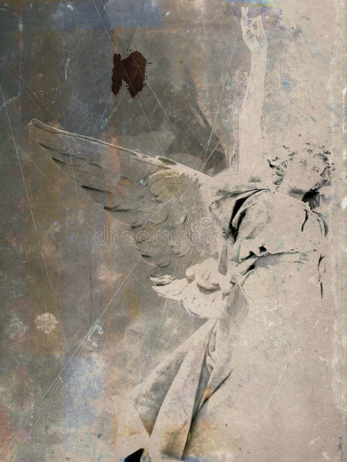 Grunge angel postcard stock image
