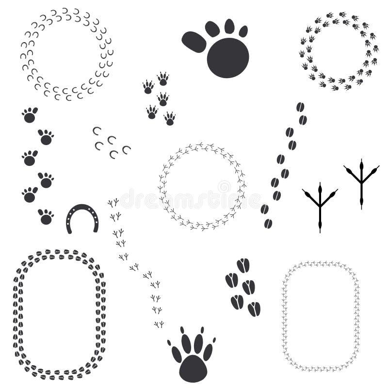 Grunge Animal Tracks. Illustration with different animals tracks collection stock illustration