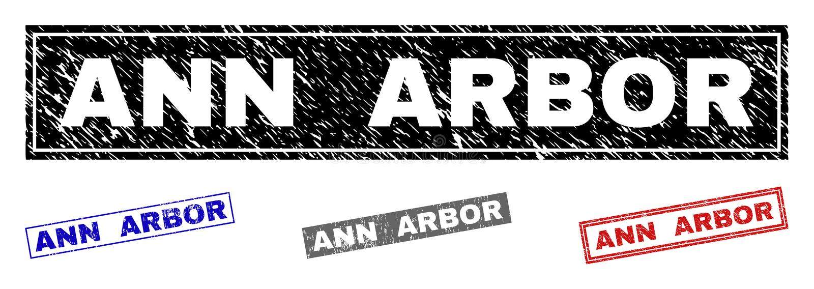 Grunge ANN ARBOR Scratched Rectangle Watermarks. Grunge ANN ARBOR rectangle stamp seals isolated on a white background. Rectangular seals with grunge texture in stock illustration
