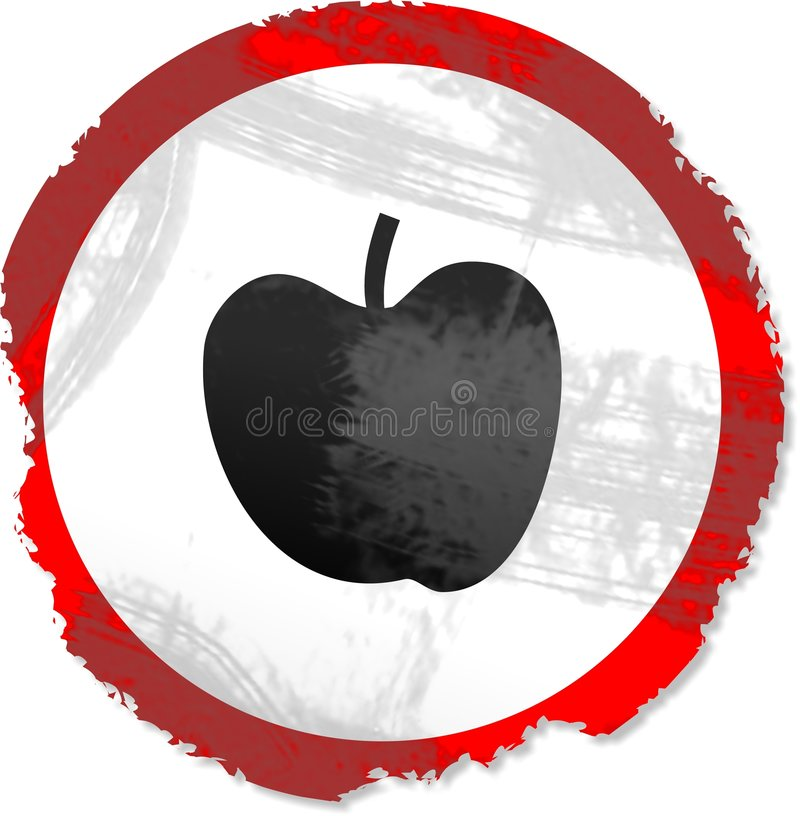 Grunge Apfelzeichen stock abbildung