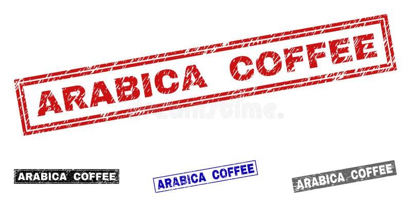 Grunge ARABICA prostokąta KAWOWI Textured znaczki ilustracji