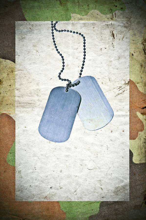Grunge army background with ID tags royalty free stock image